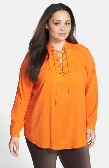 Lace Up Top (Plus Size) - sleeve style: raglan; pattern: plain; length: below the bottom; predominant colour: bright orange; occasions: casual, evening, creative work; style: top; neckline: collarstand & mandarin with v-neck; fibres: viscose/rayon - 100%; fit: loose; sleeve length: long sleeve; texture group: silky - light; pattern type: fabric; trends: zesty shades; season: a/w 2014; embellishment location: bust