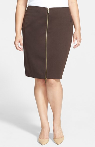 Zip Front Ponte Skirt (Plus Size) - pattern: plain; style: pencil; fit: body skimming; waist: mid/regular rise; secondary colour: silver; predominant colour: black; occasions: casual, evening, creative work; length: on the knee; fibres: polyester/polyamide - mix; pattern type: fabric; texture group: other - light to midweight; embellishment: zips; season: a/w 2014; wardrobe: highlight; embellishment location: waist