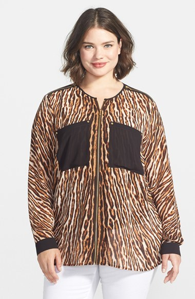 'mowani' Leopard Print Collarless Tunic Blouse (Plus Size) - neckline: shirt collar/peter pan/zip with opening; length: below the bottom; style: blouse; bust detail: subtle bust detail; secondary colour: tan; predominant colour: black; occasions: casual, evening, creative work; fibres: polyester/polyamide - 100%; fit: loose; sleeve length: long sleeve; sleeve style: standard; texture group: crepes; pattern type: fabric; pattern size: standard; pattern: animal print; season: a/w 2014; wardrobe: highlight; embellishment: contrast fabric; embellishment location: back, shoulder