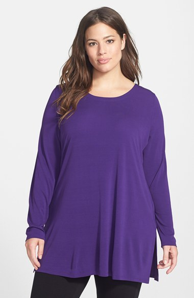 Scoop Neck Silk Jersey Tunic (Plus Size) - pattern: plain; length: below the bottom; style: tunic; predominant colour: purple; occasions: casual, evening, creative work; neckline: scoop; fibres: silk - 100%; fit: loose; sleeve length: long sleeve; sleeve style: standard; pattern type: fabric; texture group: jersey - stretchy/drapey; trends: zesty shades; season: a/w 2014