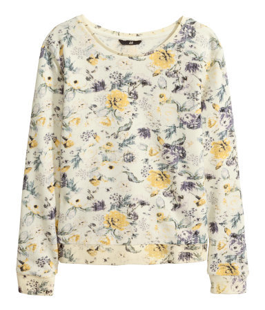 Sweatshirt - neckline: round neck; style: sweat top; occasions: casual; length: standard; fibres: cotton - mix; fit: straight cut; predominant colour: multicoloured; sleeve length: long sleeve; sleeve style: standard; pattern type: fabric; pattern: florals; texture group: jersey - stretchy/drapey; season: a/w 2014; pattern size: big & busy (top); multicoloured: multicoloured