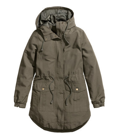 Padded Parka - pattern: plain; collar: funnel; fit: loose; style: parka; length: mid thigh; predominant colour: khaki; occasions: casual; fibres: cotton - mix; hip detail: subtle/flattering hip detail; waist detail: belted waist/tie at waist/drawstring; sleeve length: long sleeve; sleeve style: standard; collar break: high/illusion of break when open; pattern type: fabric; texture group: woven light midweight; season: a/w 2014