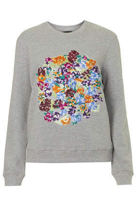 Embellished Lace Circle Sweat - style: sweat top; secondary colour: mid grey; occasions: casual, creative work; length: standard; fibres: cotton - 100%; fit: body skimming; neckline: crew; predominant colour: multicoloured; sleeve length: long sleeve; sleeve style: standard; pattern type: fabric; pattern: patterned/print; texture group: jersey - stretchy/drapey; embellishment: embroidered; trends: zesty shades; season: a/w 2014; pattern size: big & busy (top); multicoloured: multicoloured; embellishment location: bust