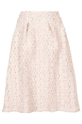 3 D Rosette Midi Skirt - length: below the knee; pattern: plain; fit: loose/voluminous; waist: high rise; predominant colour: blush; occasions: casual, evening, occasion; style: a-line; fibres: polyester/polyamide - 100%; hip detail: sculpting darts/pleats/seams at hip; waist detail: narrow waistband; pattern type: fabric; texture group: other - light to midweight; embellishment: applique; season: a/w 2014