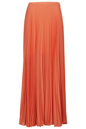 Full Pleat Maxi Skirt - pattern: plain; fit: loose/voluminous; waist: mid/regular rise; predominant colour: coral; occasions: evening, occasion, holiday; length: floor length; style: maxi skirt; fibres: polyester/polyamide - 100%; hip detail: adds bulk at the hips; texture group: sheer fabrics/chiffon/organza etc.; pattern type: fabric; season: a/w 2014