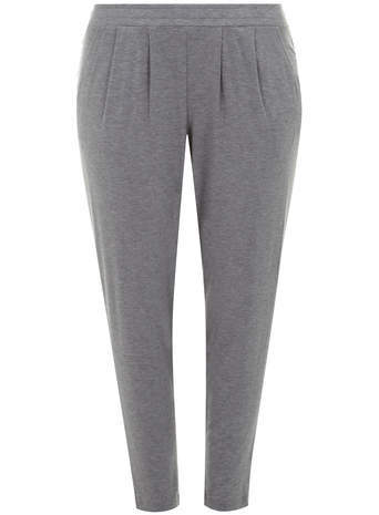 Grey Marl Tapered Trousers - length: standard; pattern: plain; waist: mid/regular rise; predominant colour: light grey; occasions: casual, creative work; fibres: viscose/rayon - stretch; hip detail: front pleats at hip level; fit: tapered; pattern type: fabric; texture group: woven light midweight; style: standard; season: a/w 2014