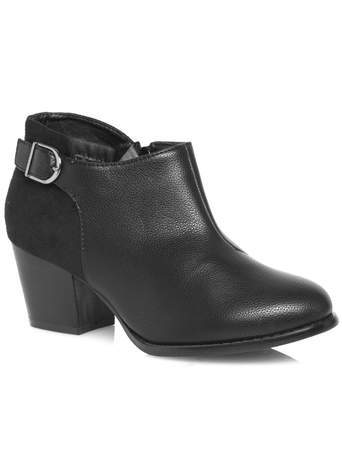 Black Fabric Mix Buckle Trim Shoe Boot - predominant colour: black; occasions: casual, creative work; material: faux leather; heel height: mid; heel: cone; toe: round toe; boot length: ankle boot; style: standard; finish: plain; pattern: plain; season: a/w 2014