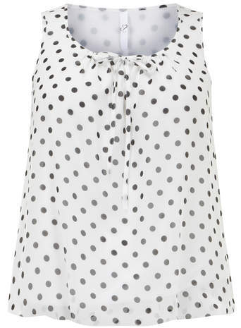 Ivory Spot Print Bubble Top - neckline: round neck; sleeve style: sleeveless; pattern: polka dot; predominant colour: white; secondary colour: charcoal; occasions: casual, creative work; length: standard; style: top; fibres: polyester/polyamide - 100%; fit: straight cut; sleeve length: sleeveless; texture group: sheer fabrics/chiffon/organza etc.; pattern type: fabric; pattern size: standard; season: a/w 2014