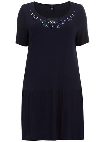 Navy Embellished Tunic - neckline: round neck; pattern: plain; style: tunic; predominant colour: navy; occasions: casual, creative work; fibres: viscose/rayon - 100%; fit: body skimming; length: mid thigh; sleeve length: short sleeve; sleeve style: standard; pattern type: fabric; texture group: jersey - stretchy/drapey; embellishment: beading; season: a/w 2014; embellishment location: bust