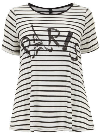 Black & White Paris Stripe Top - neckline: round neck; pattern: horizontal stripes; length: below the bottom; style: t-shirt; predominant colour: ivory/cream; secondary colour: black; occasions: casual; fibres: polyester/polyamide - mix; fit: loose; sleeve length: short sleeve; sleeve style: standard; pattern type: fabric; pattern size: standard; texture group: jersey - stretchy/drapey; season: a/w 2014
