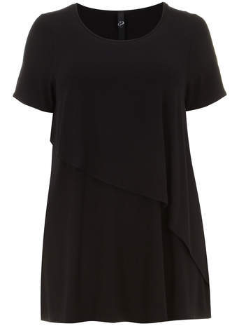 Black Asymmetric Hem Top - neckline: round neck; pattern: plain; length: below the bottom; predominant colour: black; occasions: casual, creative work; style: top; fibres: viscose/rayon - stretch; fit: loose; sleeve length: short sleeve; sleeve style: standard; pattern type: fabric; texture group: jersey - stretchy/drapey; season: a/w 2014