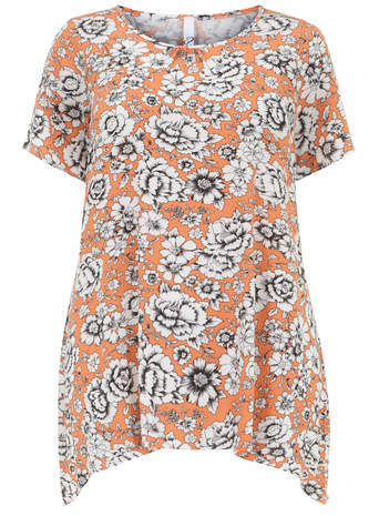 Orange Floral Gypsy Top - neckline: round neck; length: below the bottom; secondary colour: white; predominant colour: bright orange; occasions: casual; style: top; fibres: viscose/rayon - stretch; fit: loose; sleeve length: short sleeve; sleeve style: standard; pattern type: fabric; pattern: florals; texture group: jersey - stretchy/drapey; season: a/w 2014; pattern size: big & busy (top)