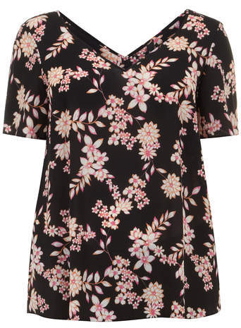 Black Floral Print Crepe Top - neckline: v-neck; length: below the bottom; secondary colour: pink; predominant colour: black; occasions: casual, creative work; style: top; fibres: polyester/polyamide - 100%; fit: loose; sleeve length: short sleeve; sleeve style: standard; texture group: crepes; pattern type: fabric; pattern size: standard; pattern: florals; season: a/w 2014