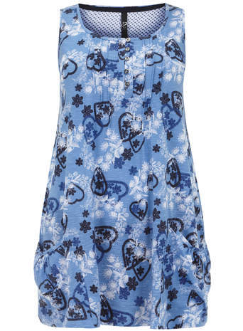 Blue Printed Sleeveless Top - neckline: round neck; sleeve style: sleeveless; length: below the bottom; secondary colour: white; predominant colour: royal blue; occasions: casual, creative work; style: top; fibres: cotton - 100%; fit: loose; sleeve length: sleeveless; pattern type: fabric; pattern size: standard; pattern: patterned/print; texture group: jersey - stretchy/drapey; season: a/w 2014