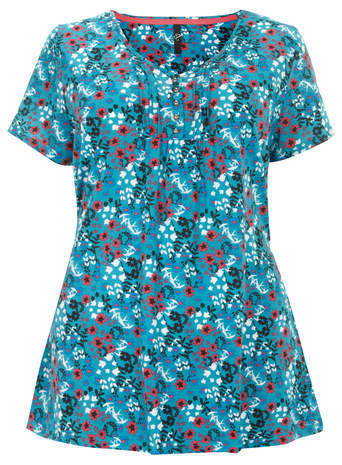 Green Pintuck Top - neckline: round neck; style: t-shirt; secondary colour: true red; predominant colour: turquoise; occasions: casual; length: standard; fibres: cotton - 100%; fit: body skimming; sleeve length: short sleeve; sleeve style: standard; pattern type: fabric; pattern: florals; texture group: jersey - stretchy/drapey; season: a/w 2014; pattern size: big & busy (top)