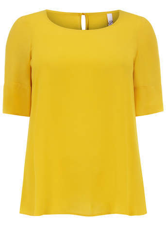 Yellow Short Sleeve Shell Top - neckline: round neck; pattern: plain; style: t-shirt; predominant colour: mustard; occasions: casual, creative work; length: standard; fibres: polyester/polyamide - 100%; fit: straight cut; sleeve length: short sleeve; sleeve style: standard; texture group: silky - light; pattern type: fabric; trends: zesty shades; season: a/w 2014