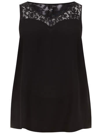 Black Lace Yoke Camisole - neckline: v-neck; pattern: plain; sleeve style: sleeveless; predominant colour: black; occasions: casual, evening; length: standard; style: top; fibres: polyester/polyamide - 100%; fit: loose; back detail: longer hem at back than at front; sleeve length: sleeveless; pattern type: fabric; texture group: other - light to midweight; season: a/w 2014; embellishment: contrast fabric; embellishment location: bust