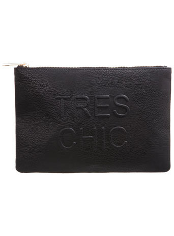 Tres Chic Clutch - predominant colour: black; occasions: evening, occasion; style: clutch; length: hand carry; size: small; material: faux leather; pattern: plain; finish: plain; season: a/w 2014