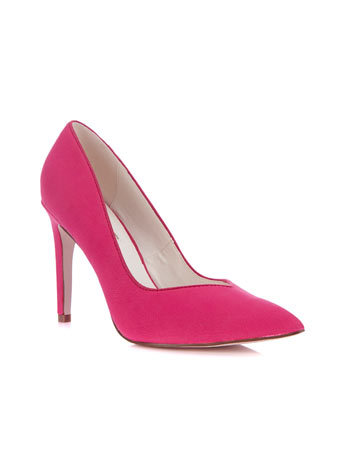 Gwyneth Mid Point - predominant colour: hot pink; occasions: evening, occasion; material: faux leather; heel height: high; heel: stiletto; toe: pointed toe; style: courts; finish: plain; pattern: plain; season: a/w 2014