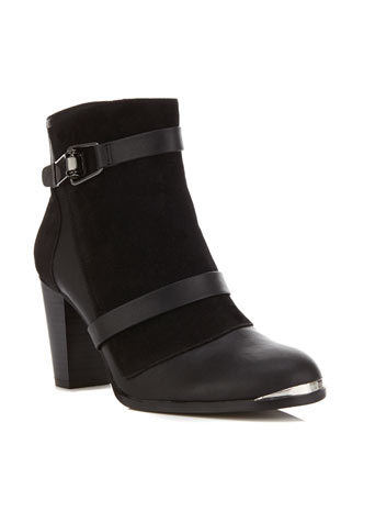 Angelina Ankle Boot - predominant colour: black; occasions: casual, creative work; material: faux leather; heel height: high; heel: block; toe: round toe; boot length: ankle boot; style: standard; finish: plain; pattern: plain; embellishment: chain/metal; season: a/w 2014