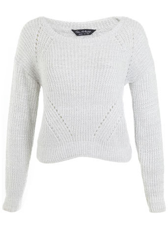 Silver Boucle Fisherman Jumper - neckline: round neck; pattern: plain; style: standard; predominant colour: ivory/cream; occasions: casual, creative work; length: standard; fibres: acrylic - 100%; fit: standard fit; sleeve length: long sleeve; sleeve style: standard; texture group: knits/crochet; pattern type: knitted - big stitch; trends: statement knits; season: a/w 2014