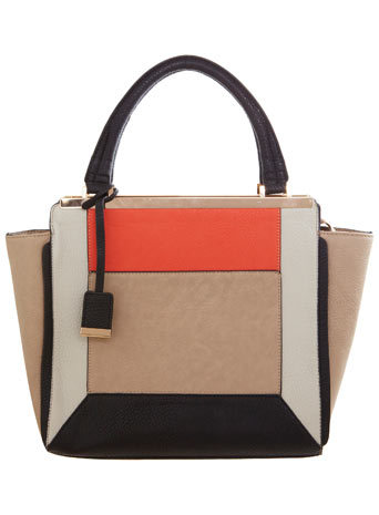 Colour Block Tote Bag - secondary colour: bright orange; predominant colour: taupe; occasions: casual, work, creative work; type of pattern: large; style: tote; length: handle; size: standard; finish: plain; pattern: colourblock; material: faux suede; season: a/w 2014