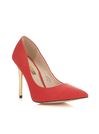 Glamorous Red Point - predominant colour: true red; secondary colour: gold; occasions: evening, occasion, creative work; material: faux leather; heel height: high; heel: stiletto; toe: pointed toe; style: courts; finish: plain; pattern: plain; embellishment: chain/metal; season: a/w 2014