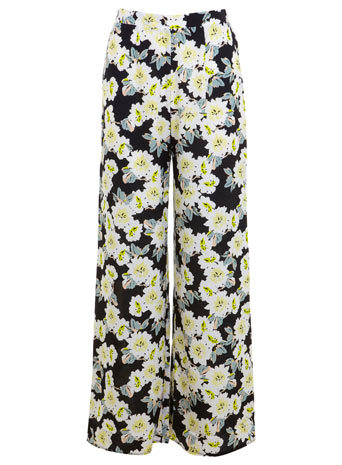 Yellow Floral Wideleg Trousers - length: standard; style: palazzo; waist: high rise; pocket detail: pockets at the sides; secondary colour: sage; predominant colour: black; occasions: casual, creative work; fibres: polyester/polyamide - 100%; fit: wide leg; pattern type: fabric; pattern: florals; texture group: other - light to midweight; season: a/w 2014; pattern size: standard (bottom)