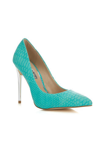 Glam Green Snake Point - predominant colour: mint green; occasions: evening, occasion; material: faux leather; heel: stiletto; toe: pointed toe; style: courts; finish: plain; pattern: plain; heel height: very high; season: a/w 2014