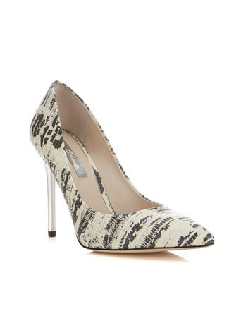 Glamorous Mono Point - secondary colour: stone; predominant colour: light grey; occasions: evening, occasion, creative work; material: faux leather; heel height: high; heel: stiletto; toe: pointed toe; style: courts; finish: plain; pattern: patterned/print; season: a/w 2014