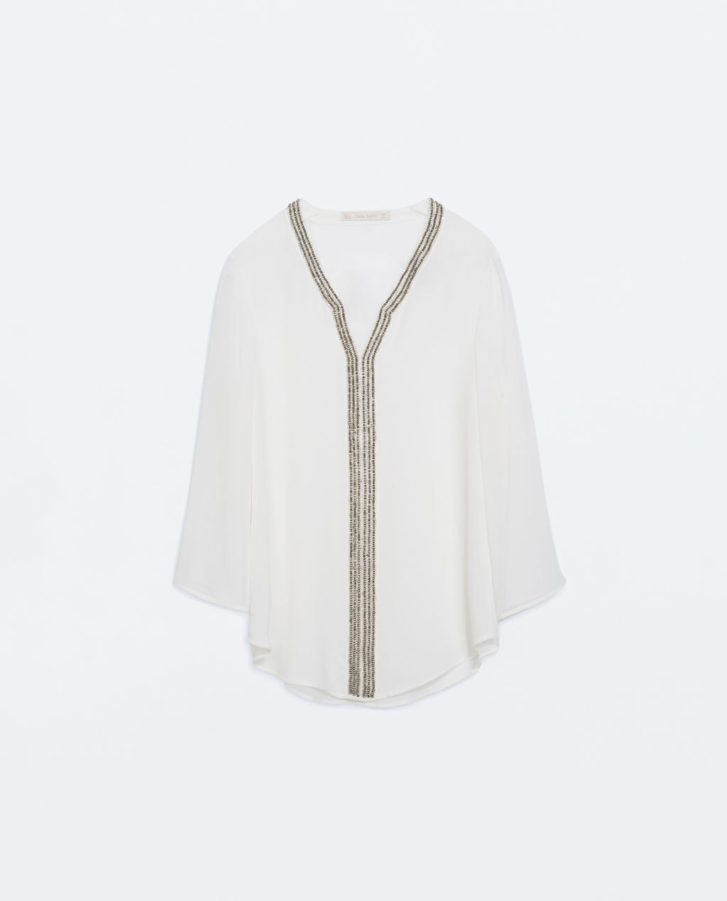 Blouse With AppliquÉ On Collar And Neckline - neckline: low v-neck; pattern: plain; bust detail: added detail/embellishment at bust; length: below the bottom; style: blouse; predominant colour: ivory/cream; secondary colour: silver; occasions: evening, creative work; fibres: polyester/polyamide - 100%; fit: straight cut; sleeve length: 3/4 length; sleeve style: standard; texture group: sheer fabrics/chiffon/organza etc.; pattern type: fabric; embellishment: beading; season: a/w 2014