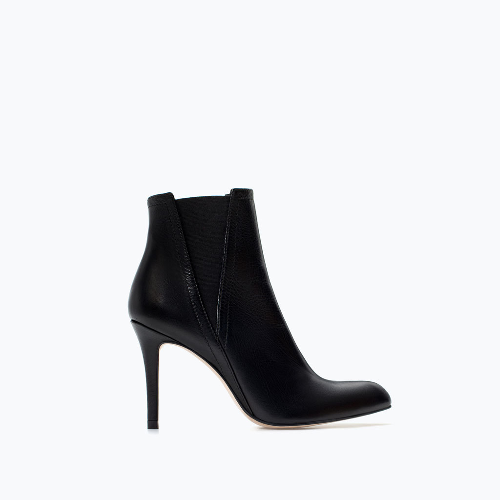 Leather High Heel Ankle Boots - predominant colour: black; occasions: casual, creative work; material: leather; heel height: high; heel: stiletto; toe: pointed toe; boot length: ankle boot; finish: plain; pattern: plain; style: chelsea; season: a/w 2014
