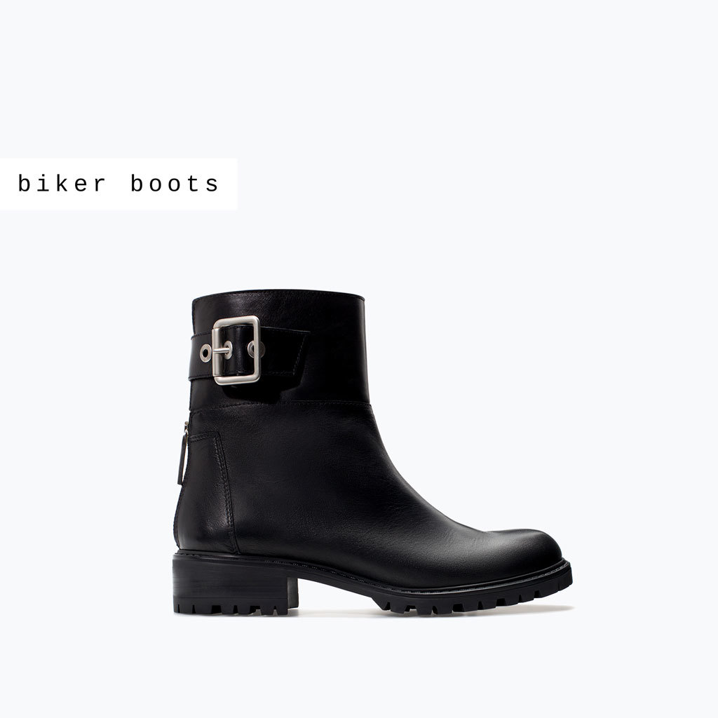 Leather Biker Bootie - secondary colour: silver; predominant colour: black; occasions: casual, creative work; material: leather; heel height: mid; embellishment: buckles; heel: block; toe: round toe; boot length: ankle boot; style: biker boot; finish: plain; pattern: plain; season: a/w 2014
