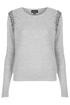Ombre Embelished Jumper - neckline: round neck; pattern: plain; style: standard; predominant colour: light grey; occasions: casual, creative work; length: standard; fibres: nylon - mix; fit: standard fit; sleeve length: long sleeve; sleeve style: standard; texture group: knits/crochet; pattern type: knitted - fine stitch; embellishment: beading; season: a/w 2014; wardrobe: highlight; embellishment location: shoulder