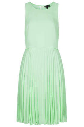 Midi Pleat Overlay Dress - length: below the knee; neckline: round neck; pattern: plain; sleeve style: sleeveless; waist detail: fitted waist; predominant colour: pistachio; occasions: evening, occasion; fit: fitted at waist & bust; style: fit & flare; fibres: polyester/polyamide - 100%; hip detail: adds bulk at the hips; back detail: keyhole/peephole detail at back; sleeve length: sleeveless; texture group: sheer fabrics/chiffon/organza etc.; pattern type: fabric; season: a/w 2014