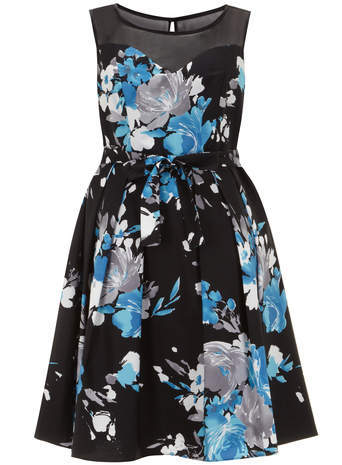 Scarlett & Jo Blue Floral Print Prom Dress - neckline: round neck; sleeve style: sleeveless; occasions: evening, occasion; length: on the knee; fit: fitted at waist & bust; style: fit & flare; fibres: polyester/polyamide - stretch; hip detail: structured pleats at hip; back detail: keyhole/peephole detail at back; predominant colour: multicoloured; sleeve length: sleeveless; pattern type: fabric; pattern size: standard; pattern: florals; texture group: woven light midweight; season: a/w 2014; shoulder detail: sheer at shoulder; multicoloured: multicoloured