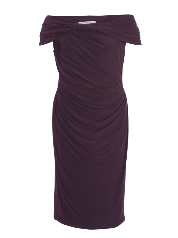 Aubergine Twist Knot Jersey Dress - style: shift; neckline: off the shoulder; sleeve style: capped; pattern: plain; bust detail: ruching/gathering/draping/layers/pintuck pleats at bust; predominant colour: aubergine; occasions: evening, occasion; length: on the knee; fit: body skimming; hip detail: ruching/gathering at hip; sleeve length: short sleeve; pattern type: fabric; texture group: jersey - stretchy/drapey; season: a/w 2014