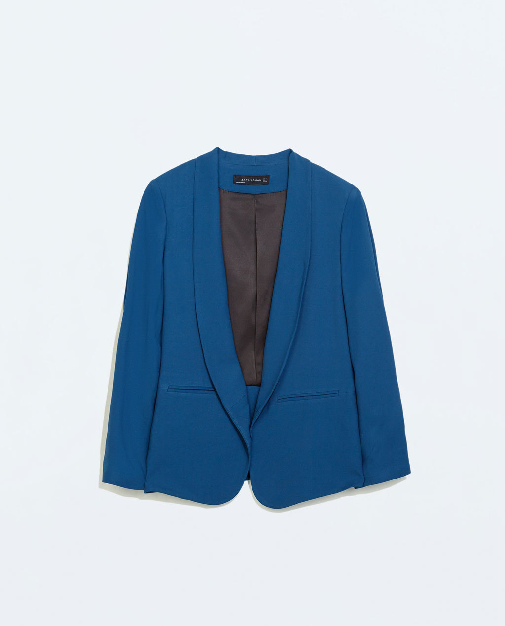 Loose Fitting Blazer With A Shawl Lapel - pattern: plain; style: single breasted blazer; collar: shawl/waterfall; fit: loose; length: below the bottom; predominant colour: royal blue; occasions: evening, creative work; sleeve length: long sleeve; sleeve style: standard; texture group: crepes; collar break: low/open; pattern type: fabric; fibres: viscose/rayon - mix; trends: zesty shades; season: a/w 2014