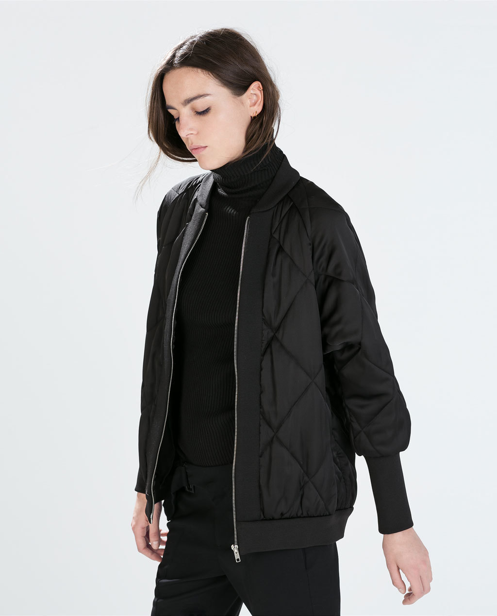 Oversized Quilted Jacket - pattern: plain; collar: round collar/collarless; style: bomber; predominant colour: black; occasions: casual, creative work; length: standard; fit: straight cut (boxy); fibres: polyester/polyamide - 100%; sleeve length: long sleeve; sleeve style: standard; collar break: high; pattern type: fabric; texture group: other - bulky/heavy; embellishment: quilted; season: a/w 2014