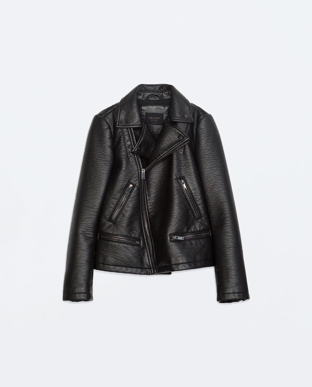 Biker Jacket - pattern: plain; style: biker; collar: asymmetric biker; predominant colour: black; occasions: casual, evening; length: standard; fit: straight cut (boxy); sleeve length: long sleeve; sleeve style: standard; texture group: leather; collar break: high/illusion of break when open; pattern type: fabric; fibres: pvc/polyurethene - 100%; season: a/w 2014