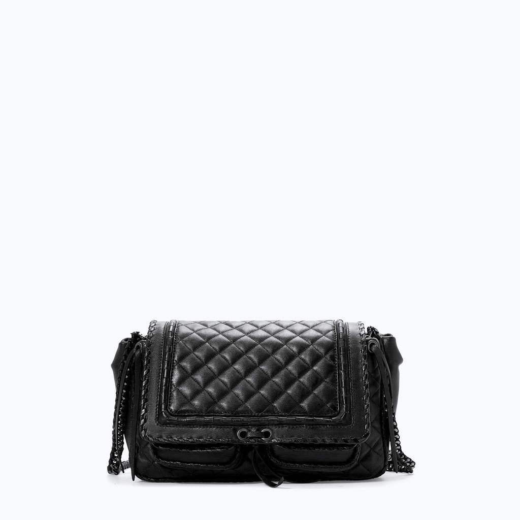 Quilted Leather City Bag - predominant colour: black; occasions: casual, creative work; style: satchel; length: across body/long; size: small; material: leather; embellishment: quilted; pattern: plain; finish: plain; season: a/w 2014