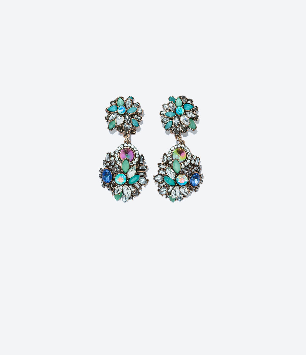 Jewel Earrings - occasions: evening, occasion, creative work; predominant colour: multicoloured; style: drop; length: mid; size: standard; material: chain/metal; fastening: pierced; finish: metallic; embellishment: jewels/stone; season: a/w 2014; multicoloured: multicoloured