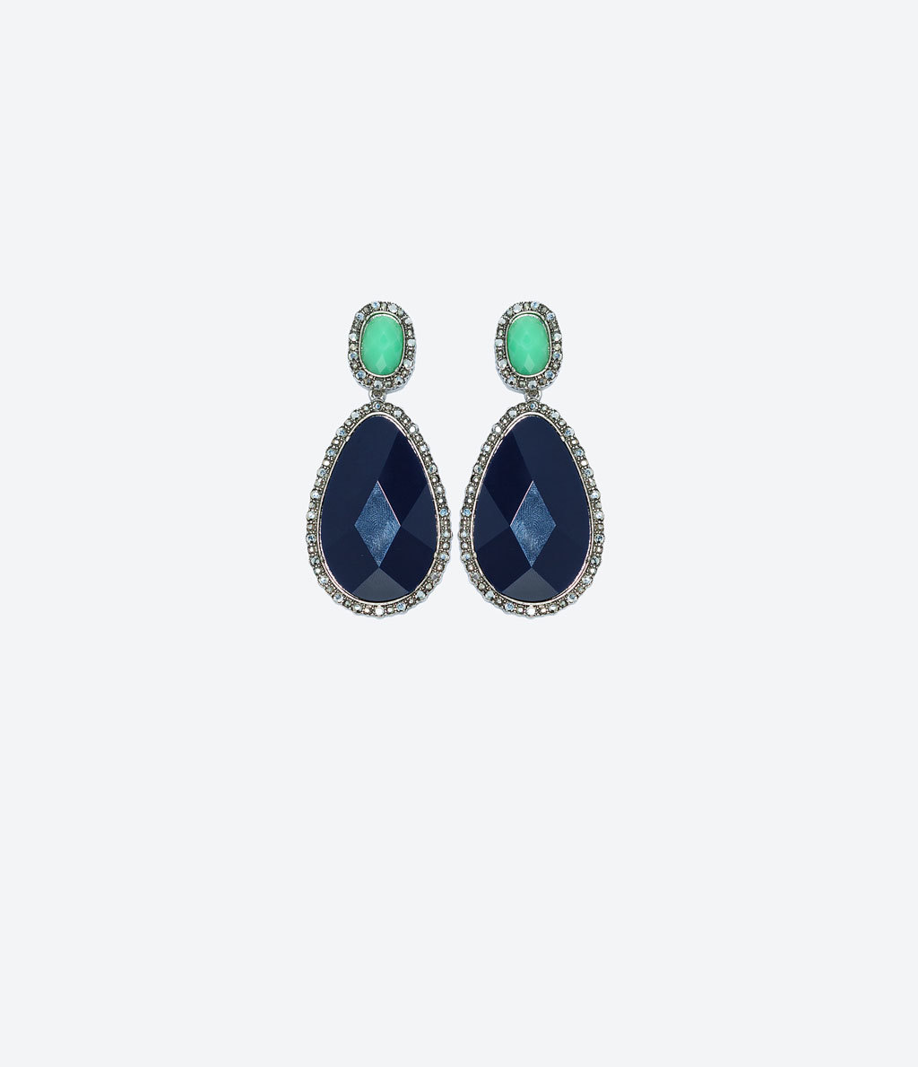 Jewel Earrings - predominant colour: navy; secondary colour: mint green; occasions: evening, occasion, creative work; style: drop; length: mid; size: standard; material: chain/metal; fastening: pierced; finish: plain; embellishment: jewels/stone; season: a/w 2014