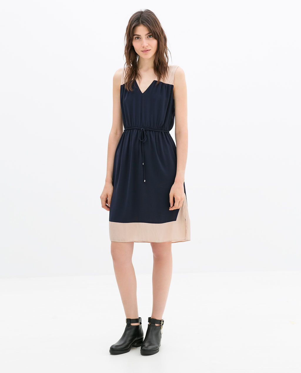 Color Block Dress With Belt - style: shift; neckline: v-neck; fit: fitted at waist; sleeve style: sleeveless; waist detail: belted waist/tie at waist/drawstring; predominant colour: navy; secondary colour: nude; occasions: casual, creative work; length: just above the knee; fibres: polyester/polyamide - stretch; sleeve length: sleeveless; pattern type: fabric; pattern size: standard; pattern: colourblock; texture group: other - light to midweight; season: a/w 2014; wardrobe: highlight; embellishment: contrast fabric; embellishment location: hem, shoulder