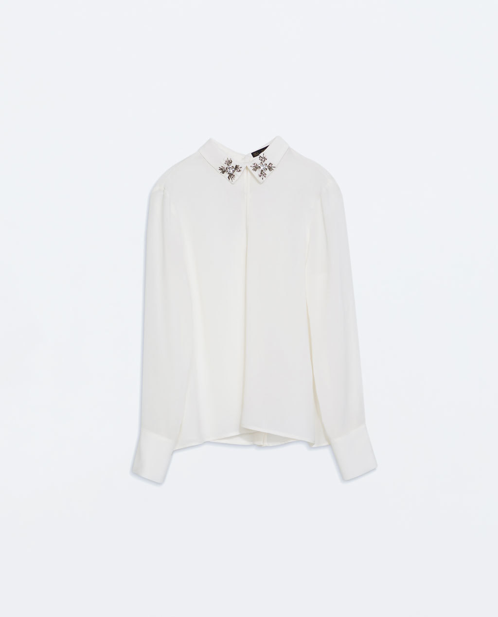 Blouse With Jewel AppliquÉ - neckline: shirt collar/peter pan/zip with opening; pattern: plain; style: blouse; predominant colour: ivory/cream; secondary colour: silver; occasions: evening, creative work; length: standard; fibres: polyester/polyamide - 100%; fit: straight cut; sleeve length: long sleeve; sleeve style: standard; texture group: sheer fabrics/chiffon/organza etc.; pattern type: fabric; embellishment: jewels/stone; season: a/w 2014; wardrobe: highlight; embellishment location: neck