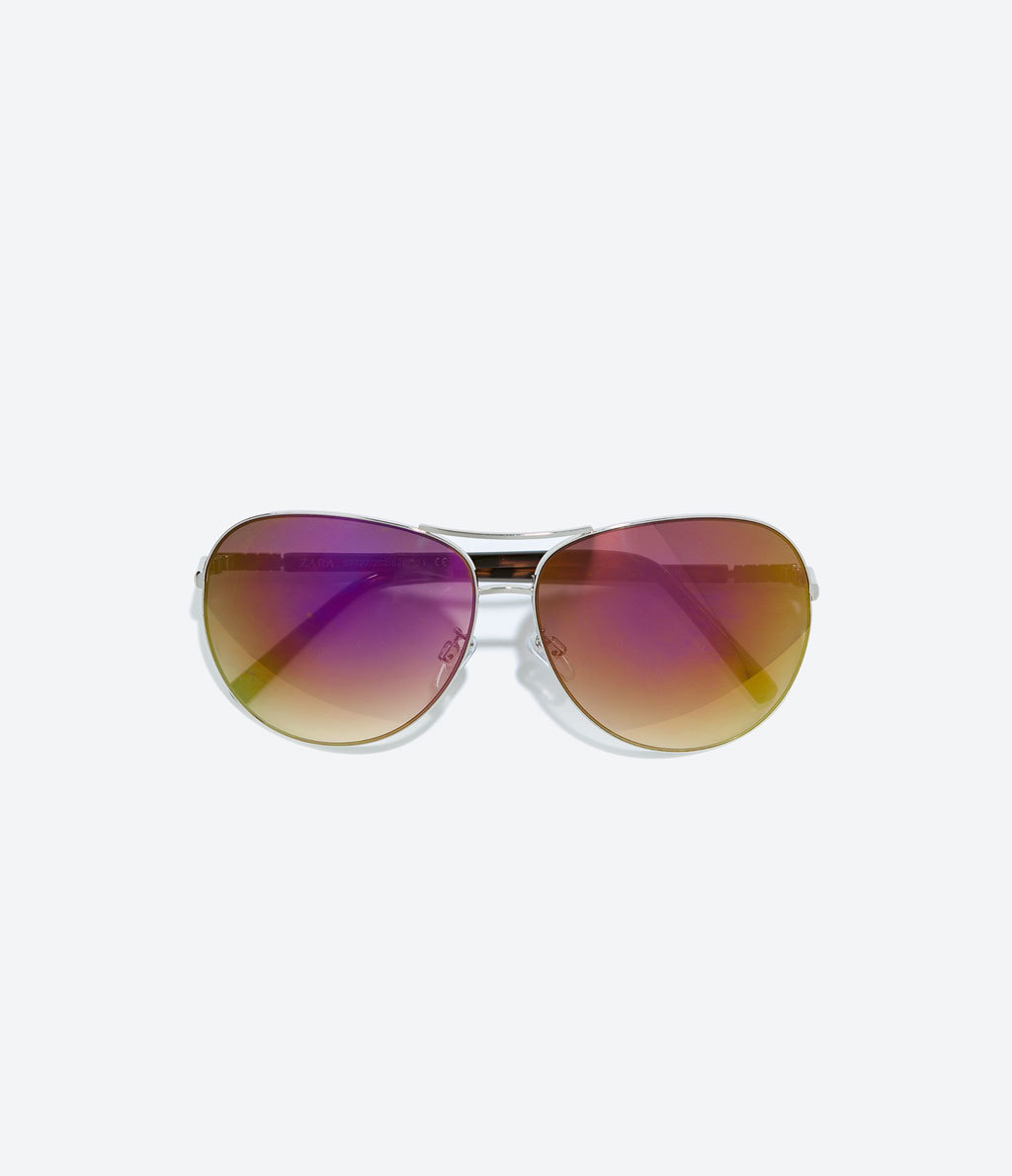 Pink Mirrored Sunglasses - predominant colour: magenta; secondary colour: silver; occasions: casual, holiday; style: aviator; size: standard; material: chain/metal; pattern: plain; finish: plain; season: a/w 2014