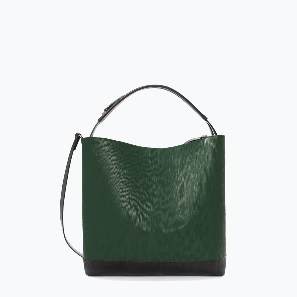 Two Tone Leather Shopper - predominant colour: dark green; secondary colour: black; occasions: casual, creative work; type of pattern: standard; style: tote; length: handle; size: standard; material: leather; finish: plain; pattern: colourblock; season: a/w 2014