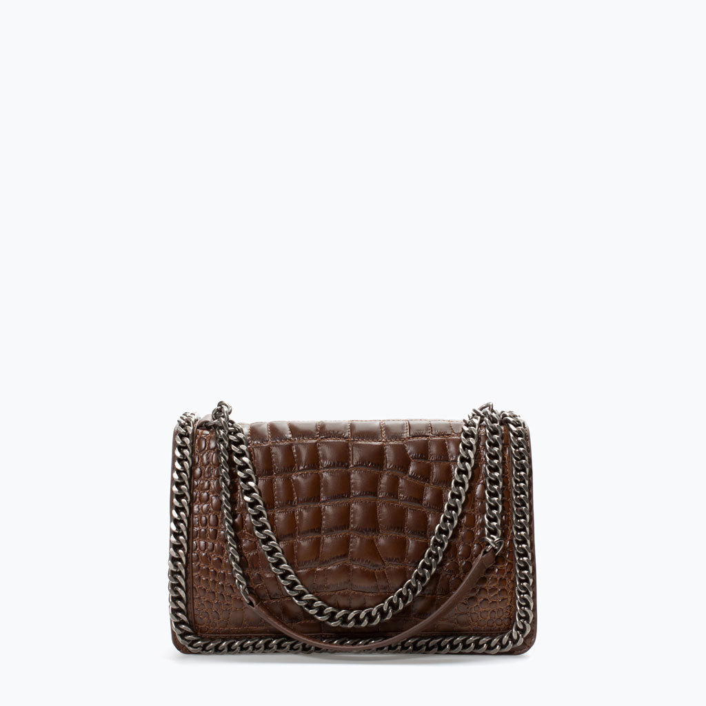 Croc City Bag With Chain - predominant colour: chocolate brown; secondary colour: silver; type of pattern: standard; style: shoulder; length: shoulder (tucks under arm); size: small; material: leather; pattern: plain; finish: plain; embellishment: chain/metal; occasions: creative work; season: a/w 2014