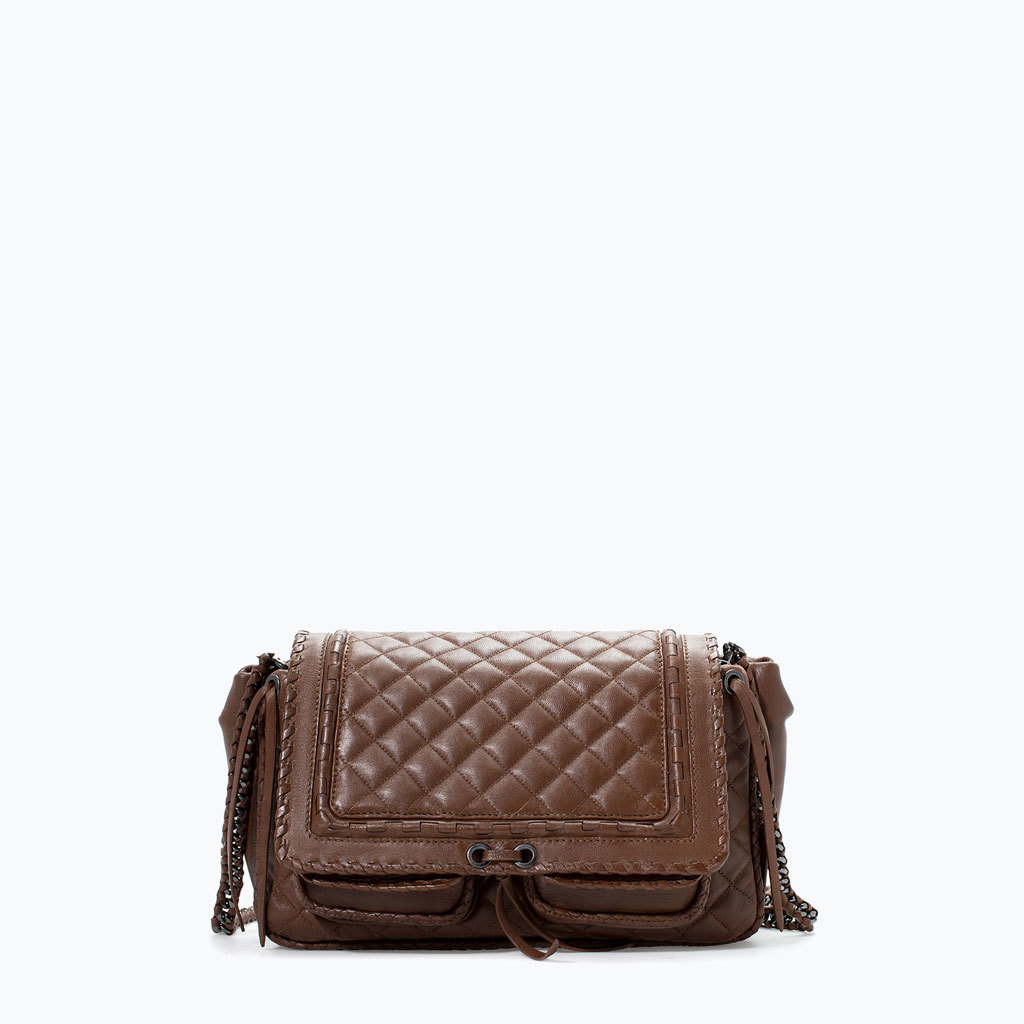 Quilted Leather City Bag - predominant colour: chocolate brown; occasions: casual, creative work; style: satchel; length: across body/long; size: small; material: leather; embellishment: quilted; pattern: plain; finish: plain; season: a/w 2014