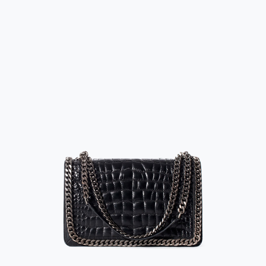 Crocodile Pattern Leather City Bag With Chain - secondary colour: silver; predominant colour: black; type of pattern: light; style: shoulder; length: shoulder (tucks under arm); size: small; material: leather; pattern: plain; finish: plain; embellishment: chain/metal; occasions: creative work; season: a/w 2014